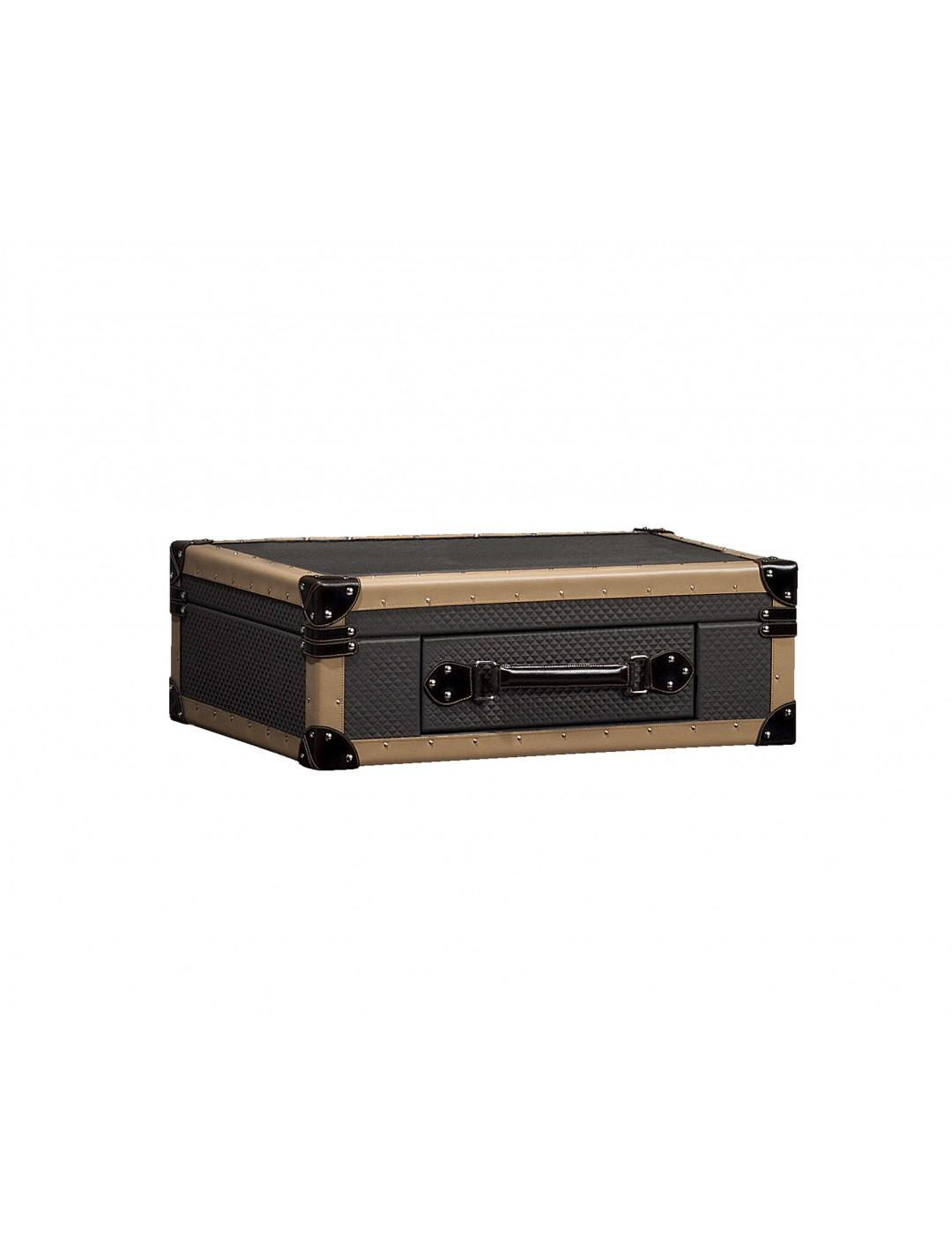 TRAVELER SUITCASE BOX, FINISH: LEATHER, SMALL SIZE, WITH ALEXANDRA KEYRING AND KEYS,