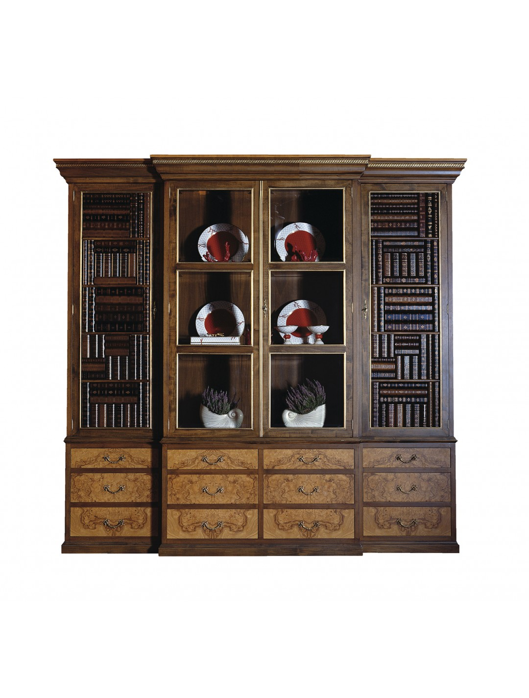 OLIVATO DISPLAY CABINET, LEATHER BOOK IMITATION DOORS, AGED OLIVE TREE ROOT VENEER DETAILS,