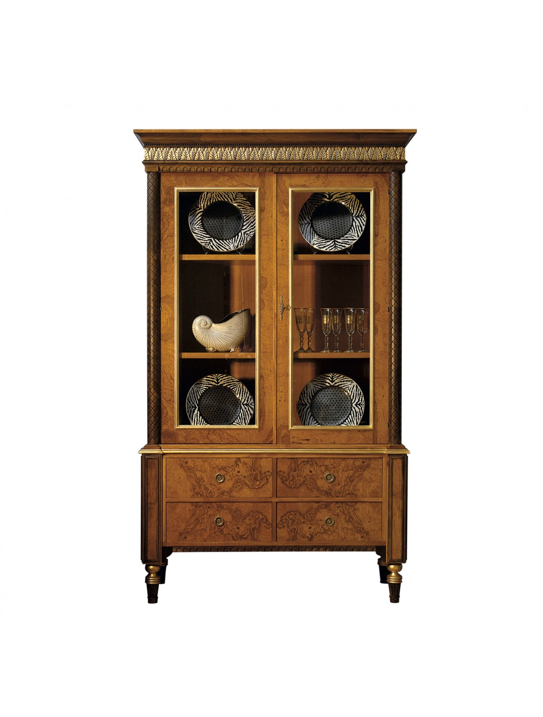 ATENEA DISPLAY CABINET, AGED OLIVE TREE ROOT VENEER DETAILS, WITH GLASS DOORS,