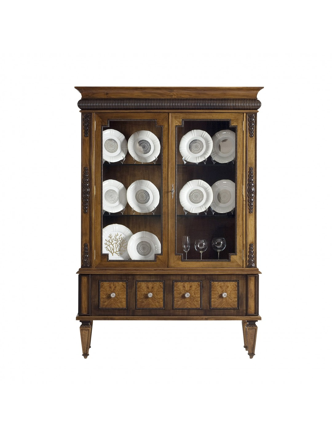 DECO DISPLAY CABINET, AGED OLIVE TREE ROOT VENEER DETAILS, WITH GLASS DOORS,