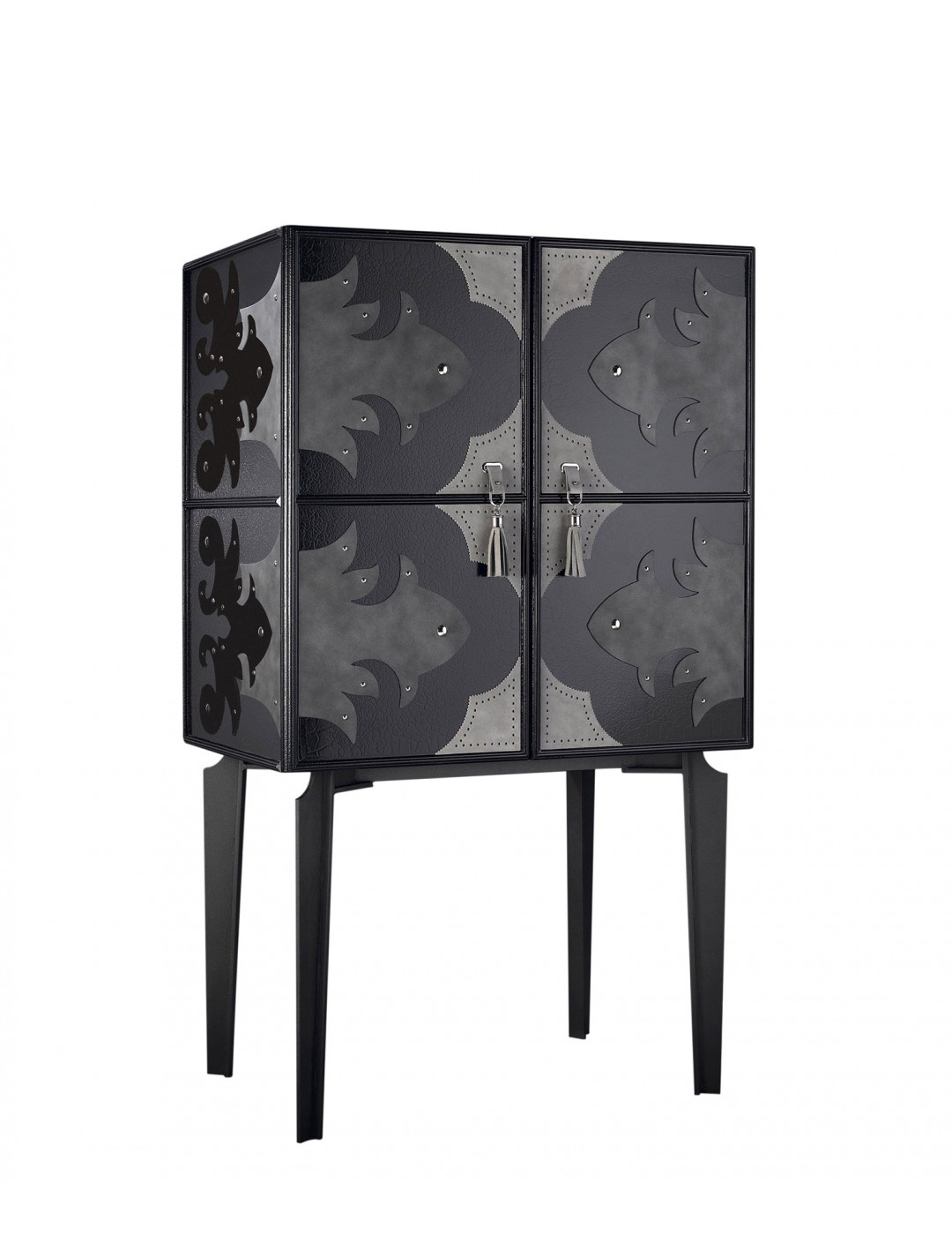 VALENTINA HIGH SIDEBOARD, WITH LEATHER DETAILS, ONYX BLACK 184 ON IRON, INSIDE WITH TWO SHELVES AND FOUR DRAWERS,