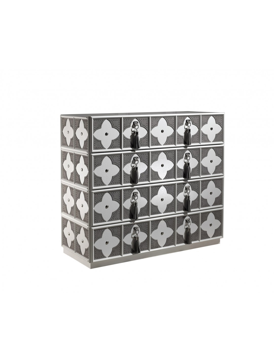 VALENTINA CHEST OF DRAWERS,  WITH LEATHER DETAILS,