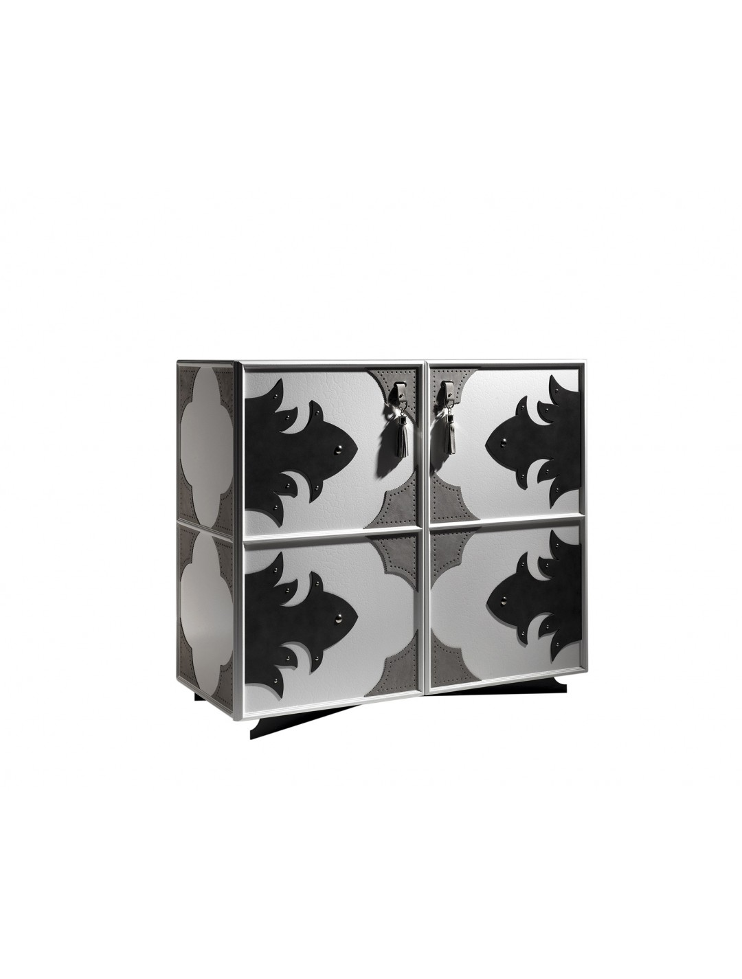 VALENTINA HIGH CABINET CUSTOM MADE S1225, LUXOR EDITION, SIZE 121*52*107H, FINISH: WHITE CRACKELE ON WOOD, WITH LEATHER DECORATION ON 4 SIDES,  BLACK ONYX ON IRON LEGS, NICKEL BRASS DETAILS,  WITH TV ELEVATOR MECHANISM