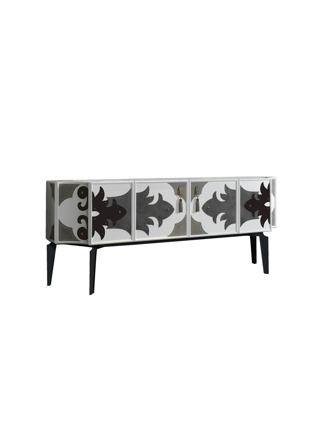 VALENTINA SIDEBOARD, IRON LEGS, WITH LEATHER DECORATION,