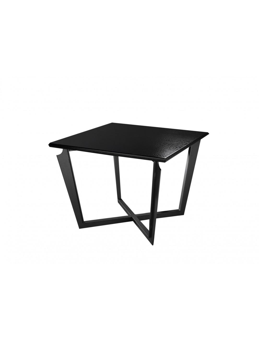 VALENTINA SQUARE SIDE TABLE, FINISH: ONYX BLACK 184 ON IRON LEGS,