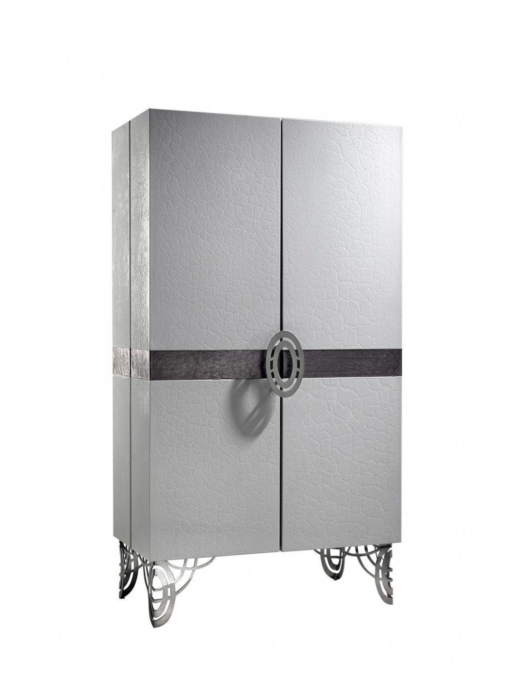 REGINA DEI GHIACCI CABINET, F9575 LUXY GREY LEATHER DETAIL, STAINLESS STEEL LEGS AND HARDWARE,