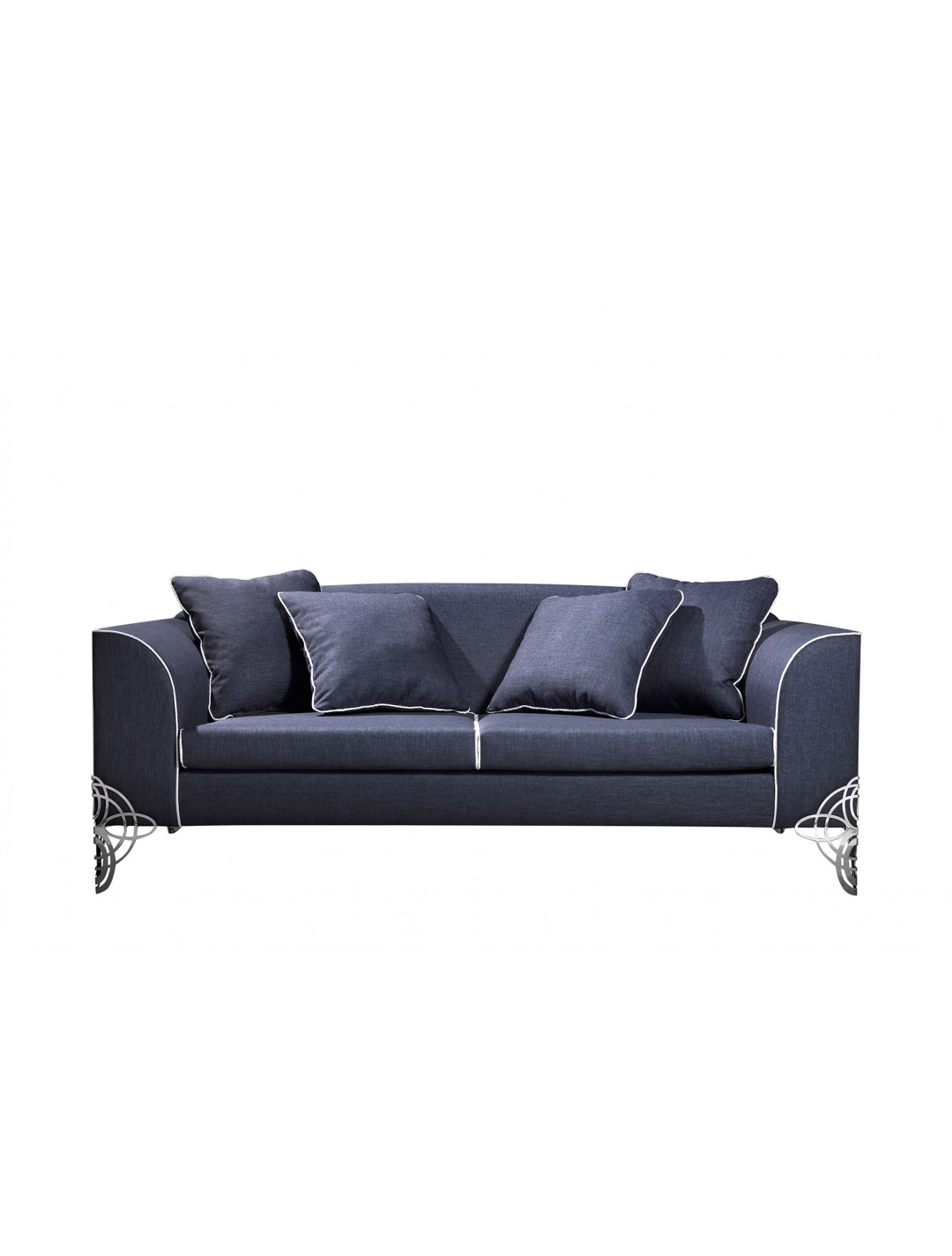 REGINA DEI GHIACCI 3-SEATER SOFA, UPHOLSTERY: WITHOUT FABRIC, WITH FOUR 60*60 LOOSE CUSHIONS, STAINLESS STEEL LEGS, C.O.M.