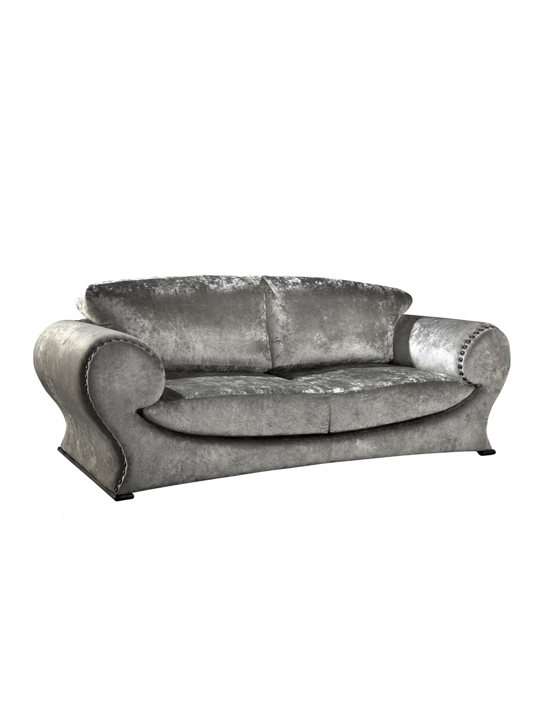 MARIBEL 3-SEATER SOFA, WITH DRAWING PINS ON ARMS AND BACK, METAL BASE, C.O.M.