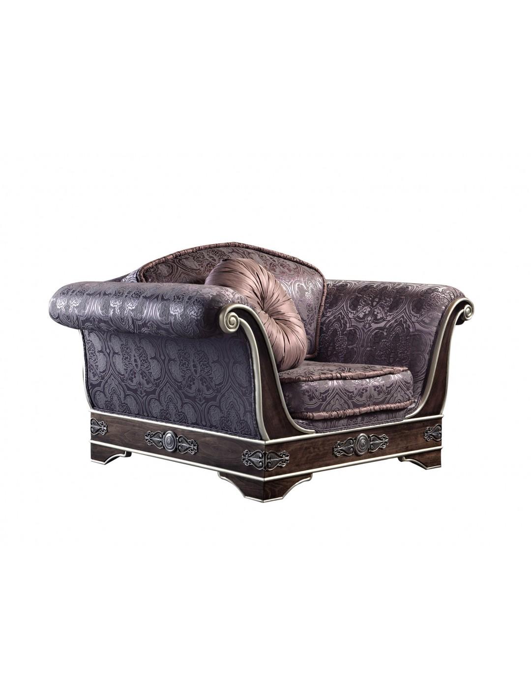 ROYAL 1 SEAT SOFA, FINISH: 50 D. CUSHION, BRASS DETAILS, C.O.M.