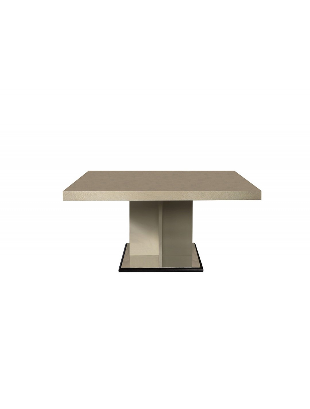 IRIS DINING TABLE,  ERABLE VENEER (MINOR MAPLE) ON TOP, FINISH: SHINY NATURAL, STAND: BEIGE ARTIFICIAL LEATHER/BLACK LEATHER 93* AND STEEL, 160*160
