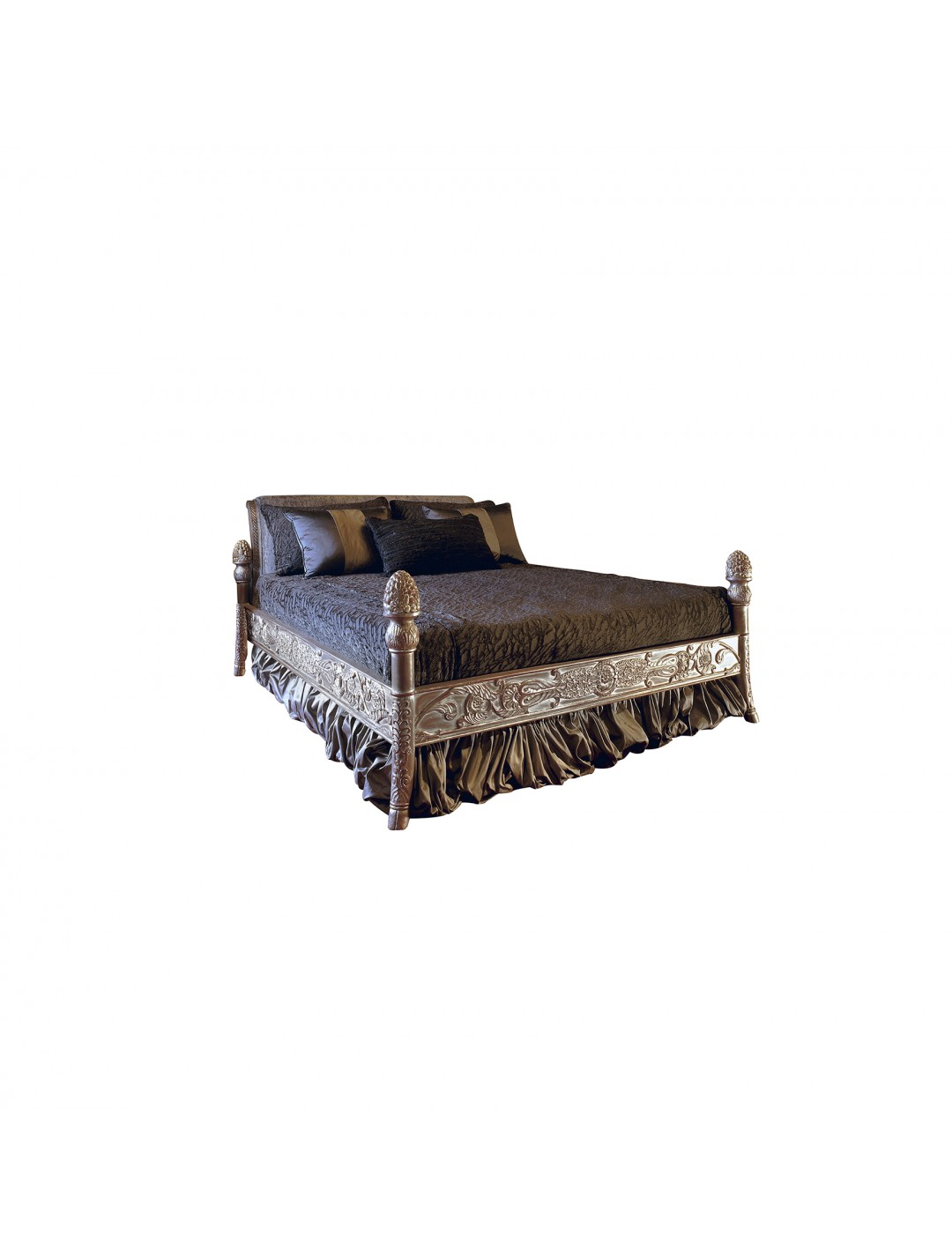 Hand Carved Bed: SILVIA WOODEN HAND CARVED BED (FOR 180X200 CM