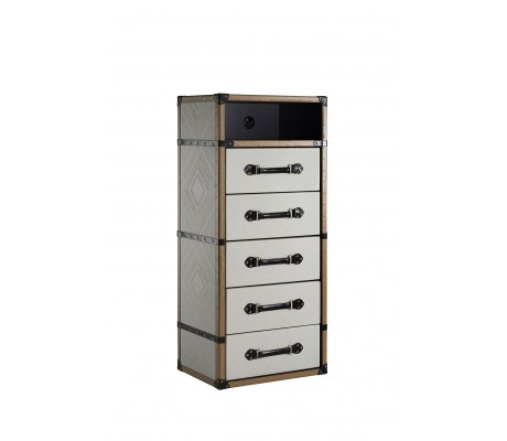 TRAVELER DVD CHEST OF DRAWERS, LEATHER FINISH