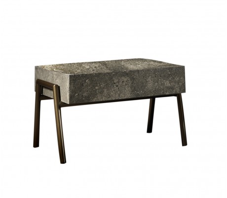 LUCIO IRON SIDE TABLE, FINISH: BRONCE IN&OUT ON IRON, MARBLE BLOCK TOP,