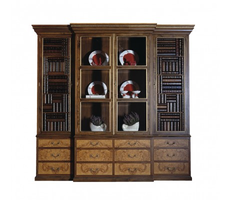 OLIVATO DISPLAY CABINET, LEATHER BOOK IMITATION DOORS, AGED OLIVE TREE ROOT VENEER DETAILS,