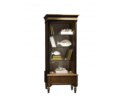 ATENEA BOOKCASE, AGED OLIVE TREE ROOT VENEER DETAILS, UPHOLSTERED BACK PANEL: C.O.M.