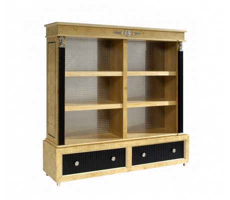 LEONID BOOKCASE, MYRTLE WOOD, BLACK ECO LEATHER DRAWER FRONT, STAINLESS STEEL BACK, NICKEL DECORATION,