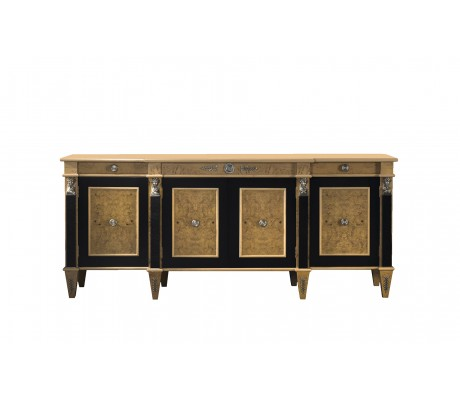 LEONID SIDEBOARD, MYRTLE WOOD, BLACK ECO LEATHER COLUMNS, TWO SIDE DRAWERS, NICKEL DECORATION,