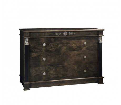 LEONID CHEST OF DRAWERS, FINISH: DECO WALNUT, BLACK ECO LEATHER COLUMNS, NICKEL DECORATION,