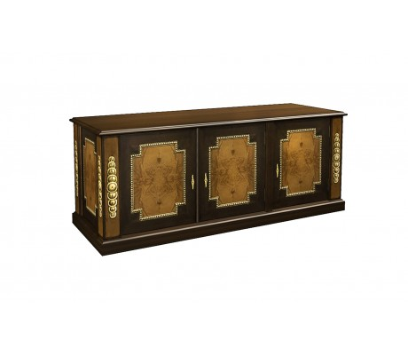 DECO OLIVATO ROOT RETURN TABLE, FINISH:ON WOOD, HONEY/DECO WALNUT/GOLD,  150X50X61H, AS PER DRAWING,