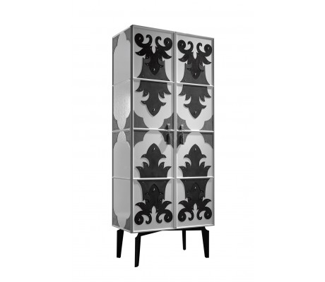 VALENTINA CABINET, WITH LEATHER DECORATION,  ONYX BLACK 184 ON IRON LEGS, INSIDE WOODEN SHELVES