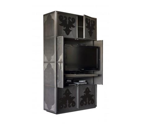 VALENTINA TV CABINET, LEATHER DECORATION, SLIDING TRAY, OLD BRASS DETAILS,