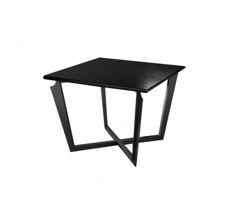 VALENTINA SQUARE SIDE TABLE, FINISH: ONYX BLACK 184 ON IRON LEGS,