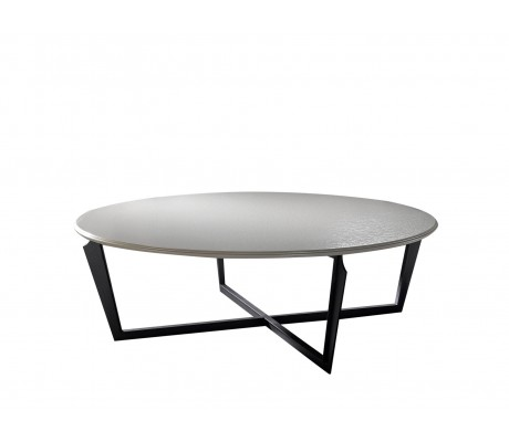 VALENTINA ROUND COFFEE TABLE,  FINISH: ONYX BLACK 184 ON IRON LEGS, 120 D.