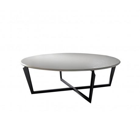 VALENTINA ROUND COFFEE TABLE,  FINISH: ONYX BLACK 184 ON IRON LEGS, 120 D.