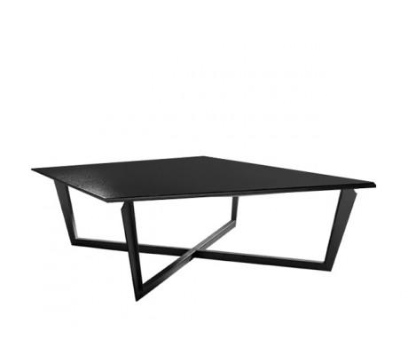 VALENTINA SQUARE COFFEE TABLE, FINISH: ONYX BLACK 184 ON IRON LEGS, 110*110,
