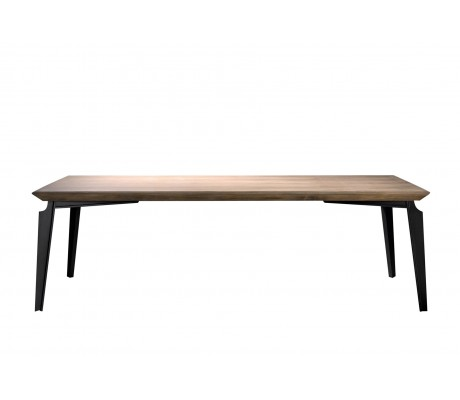 VALENTINA IRON FOUR-LEG DINING TABLE, FINISH: ONYX BLACK 184 IRON FINISH, WOODEN TOP, 240*100