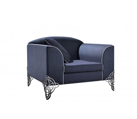 REGINA DEI GHIACCI 1-SEATER SOFA, UPHOLSTERY: WITHOUT FABRIC, WITH ONE 60*60 LOOSE CUSHION, STAINLESS STEEL LEGS, C.O.M.
