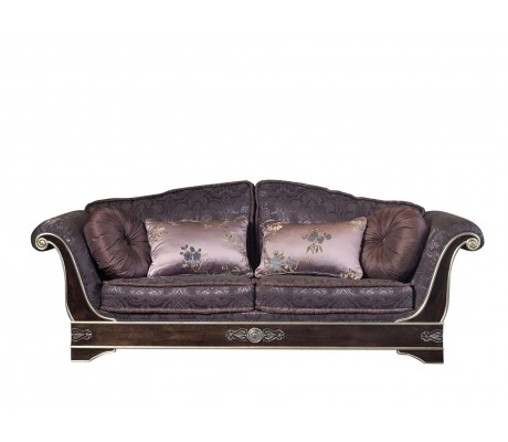 ROYAL 3 SEATER SOFA, WITH TWO LOOSE 50D. ROUND CUSHIONS, BRASS HARDWARE, C.O.M.
