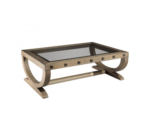 NICOSIA COFFEE TABLE, WITH BRASS DETAILS AND GLASS TOP, 130X90*45