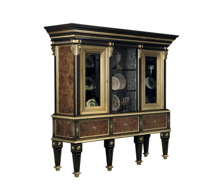 DARIA DISPLAY CABINET, OLIVE ROOT VENEER DETAILS,  BACK AND SIDE PANELS ON CENTRAL PART: WITHOUT FABRIC, GLASS SHELVES,  BRASS HARDWARE,