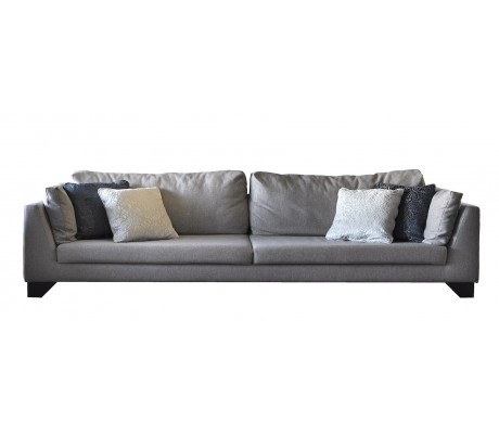 DUNE 280CM SOFA, UPHOLSTERY: WITHOUT FABRIC, WITH TWO 60*50 CUSHIONS, BROWN ARTIFICIAL LEATHER ON LEGS, C.O.M.