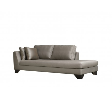 DUNE 245-CL CM CHAISE-LONGUE, UPHOLSTERY: WITHOUT FABRIC, WITH TWO 60*50 CUSHIONS, BROWN SYNTHETIC LEATHER ON LEGS, C.O.M.