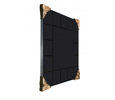"""MARIOLA GLASS AND WOODEN CARVING MIRROR, BEVELLED GLASS SQUARES, FOR 40"""" TV (INCLUDED),"""