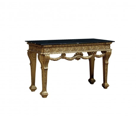 SHELL CARVED WOOD CONSOLE