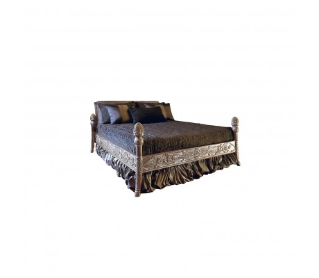 SILVIA WOODEN CARVED BED (FOR 200*200 CM MATTRESS)