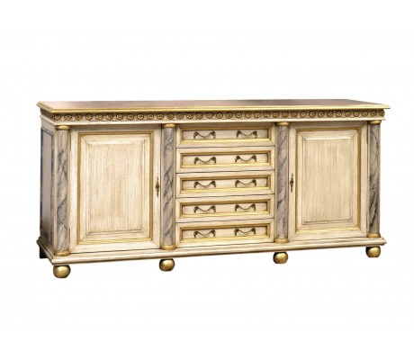 DORIS SIDEBOARD, OAK TREE ROOT WOODEN TOP, MARMOLIZED COLUMNS,
