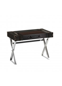 TRAVELER DESK, FINISH: LEATHER, STEEL LEGS,