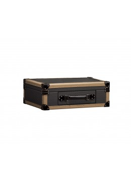 TRAVELER SUITCASE BOX, FINISH: LEATHER, SMALL SIZE, WITH ALEXANDRA KEYRING AND KEYS,