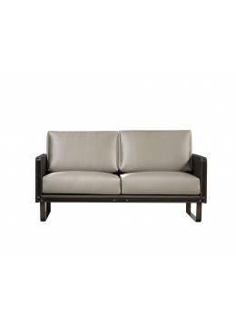 COMPASS S2 SOFA, FINISH: ECO LEATHER Q1002, BROWN LEATHER BELTS, OXIDE IRON LEGS, C.O.M.