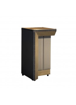 COMPASS BAR COUNTER, LEFT SIDE UNIT, WOOD/ECO LEATHER FINISH, BROWN LEATHER PROFILES/CORNERS,
