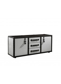 TRAVELER AUXILIARY CABINET, FINISH: LEATHER, CORNERS/PROFILES/HANDLES IN BROWN LEATHER,