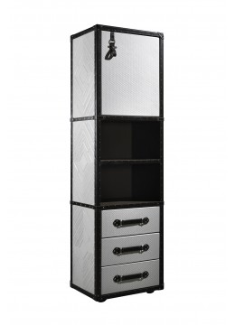 TRAVELER UPPER DOOR BOOKCASE COLUMN, FINISH: LEATHER ON DOORS/DRAWERS (PYRAMID) AND SIDES (ALEXANDRA ENGRAVING), BROWN LEATHER CORNERS/PROFILES, (SPECIFY LEFT OR RIGHT OPENING)