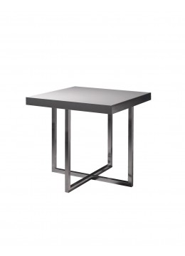 LEWIS SIDE TABLE, GLOSSY SILVER STEEL FRAME, BASIC SAND PORCELAIN STONEWARE TOP,