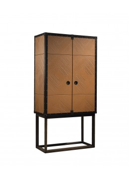 TRAVELER COCKTAIL HIGH CABINET, LEATHER FINISH AND WOODEN LEGS, BROWN LEATHER PROFILES/CORNERS, INSIDE GLASS BACK,