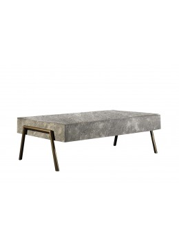 LUCIO IRON COFFEE TABLE, FINISH: BRONZE IN&OUT ON IRON, MARBLE BLOCK TOP,