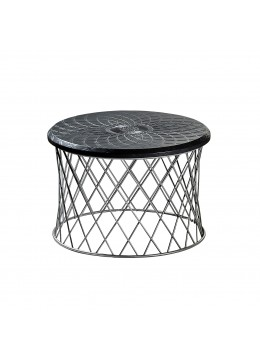 WIKA SIDE TABLE, FINISH: ALUMINIUM-01 IRON BASE, ENGRAVED LEATHER TOP, 65 CM.D.
